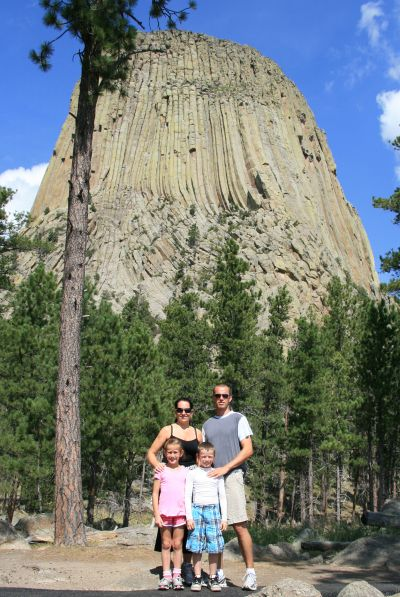 Family at devils tower