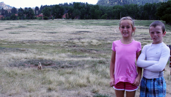 Kids with prairie dogs
