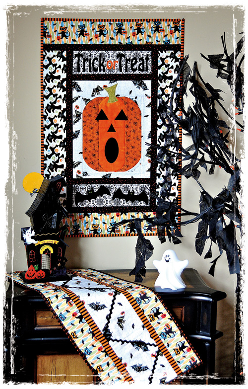 Trick or treat wall and ric rac runner